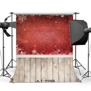 Photography Backdrops Christmas Theme Red Snowflakes Vintage Stripes Wood Floor Background