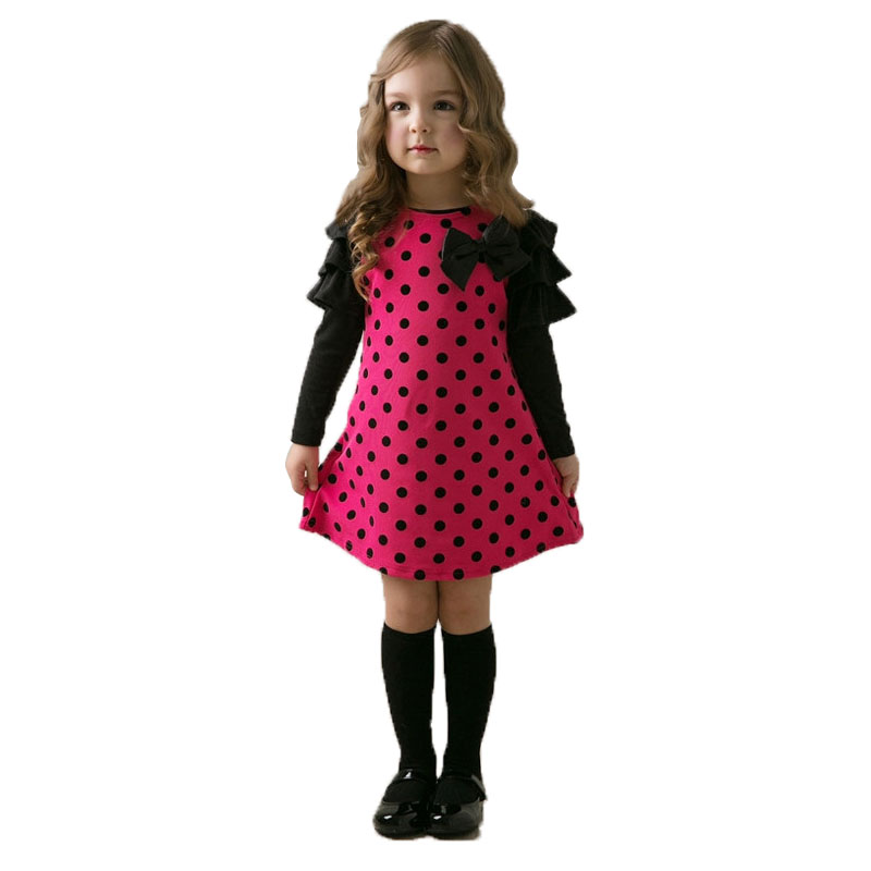 Melario Girls dresses 2018 Autumn&Spring Children clothing girls dot dress long-sleeve kids girls princess dress kids clothes menoea 2017 new girl dress autumn bow princess dress children clothes dot long sleeve 2 colors dresses 1pcs retail
