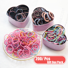 200pcs/Gift Box 3 cm Hair Accessories Girls Rubber Bands