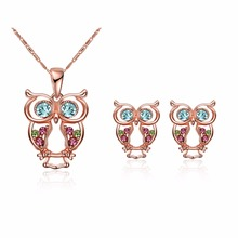 fashion owl jewelry sets for women rose gold colour with Multicolor zircon SWA necklace earrings for female gift(China)