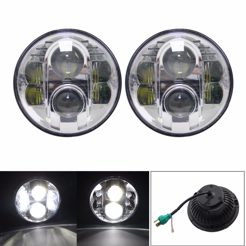 Pair 80w Drl Headlight 7 Inch Round Led Light High  Low Beam Headlamp For Je Ep Wr Angler 2007