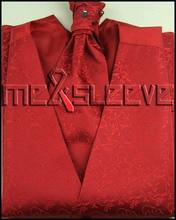 free shipping woven polyester red fabric waistcoat(vest+ascot tie+handkerchief+cufflinks)