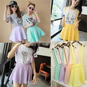 Casual Hollow Mini Skater Cute Women Suspender Clothes Straps High Waist Skirt HOT Candy Color