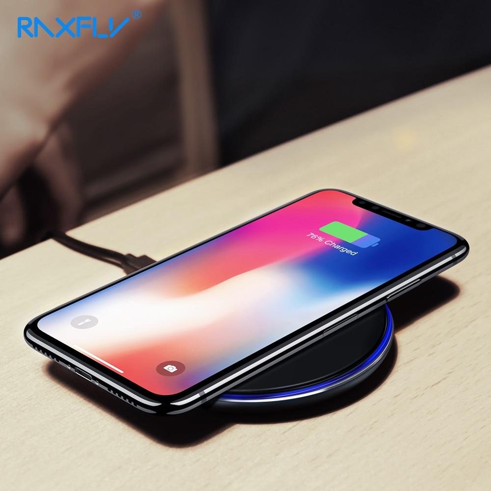 RAXFLY inalámbrico cargador para Samsung Galaxy S10 Nota 8 5 S9 más S8 más S9 S7 Qi inalámbrico cargador para iPhone XS Max XR m X XS X