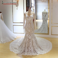 AMANDA NOVIAS Long sleeves mermaid wedding dress champagne