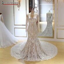 Uzun kollu mermaid düğün elbisesi şampanya