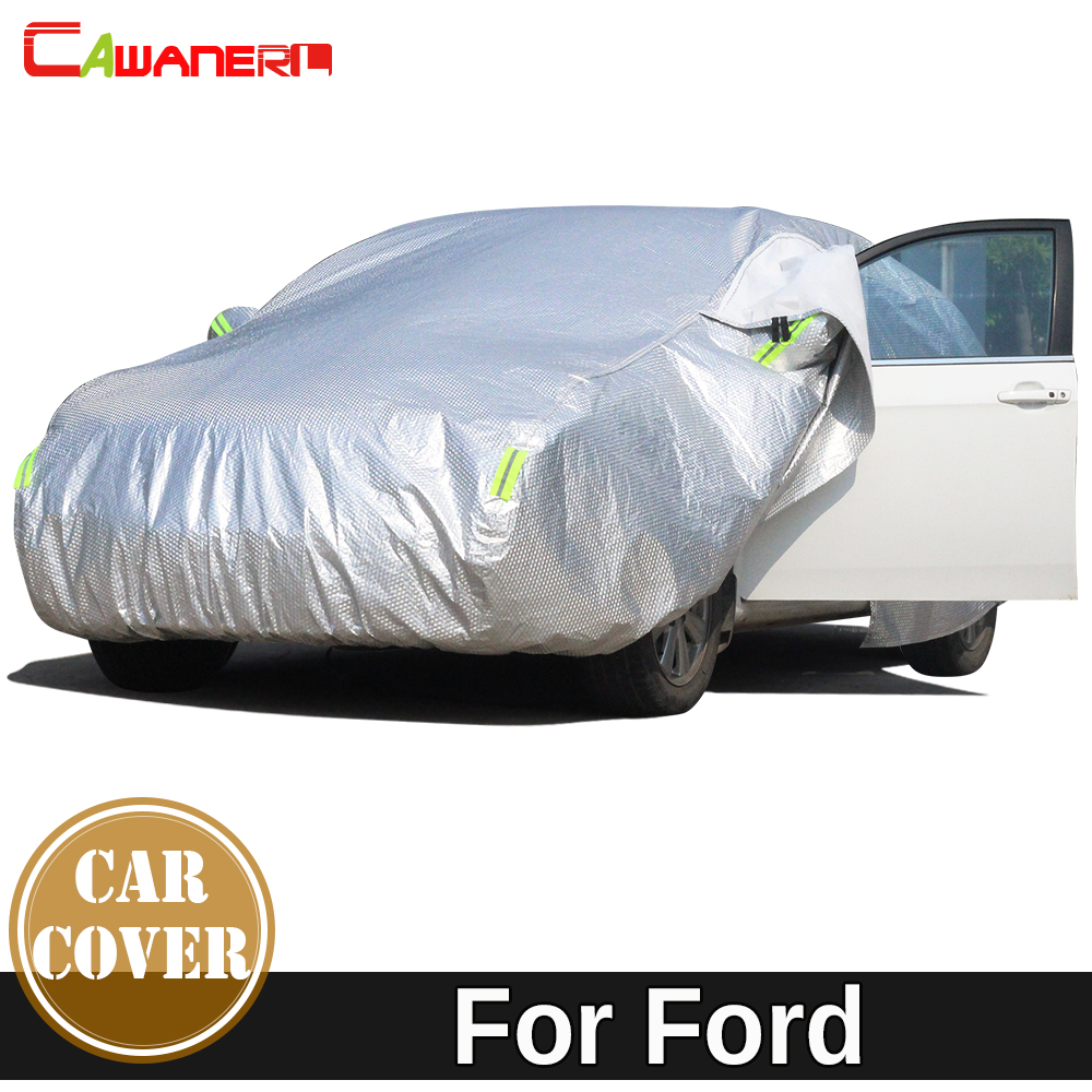 Cawanerl Thicken Cotton Car Cover Waterproof Sun Snow Hail Rain Dust Protection Auto Cover For Ford Escort Kuga Focus Mustang buildreamen2 waterproof car covers sun snow rain hail scratch dust protection cover for mercedes benz gle 350 400 450 300 320