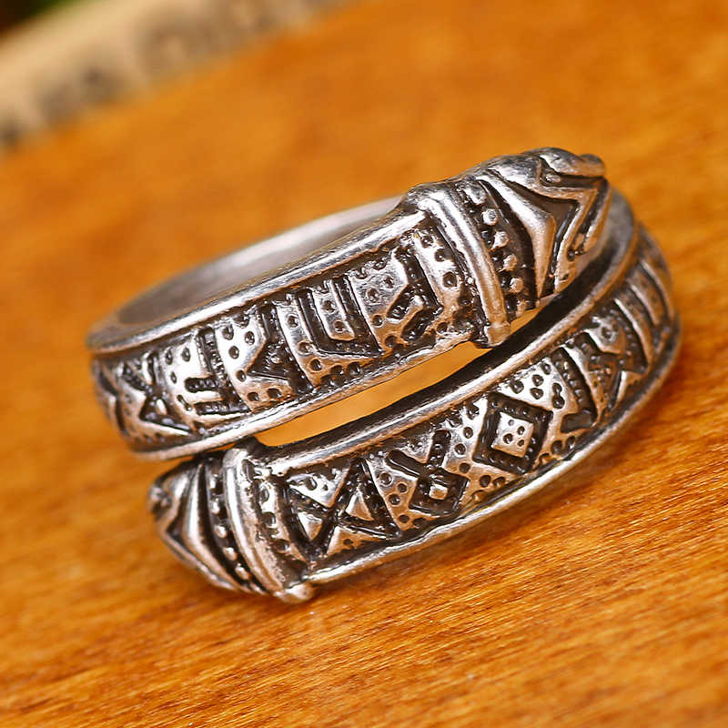 Celtics Simpul Rune Cincin Adjustable Naga Viking Elder Futhark Cincin