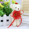 Plush toy doll bear flower bouquet material toys Mini 12CM PP cotton cartoon baby girls teddy bear for promotional gift
