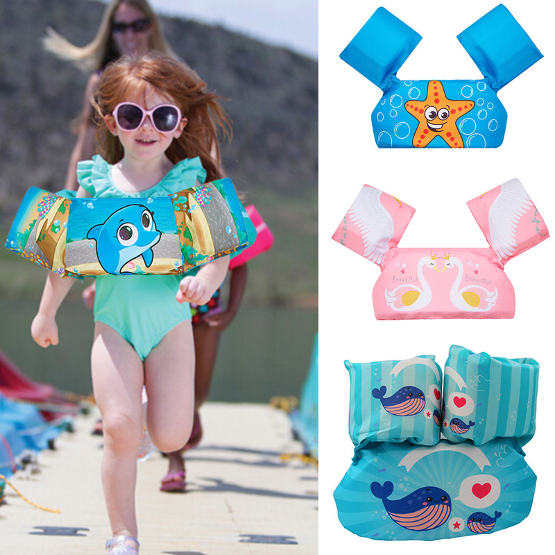 Dual Airbags Inflatable Arm Circles Kids Armband Carton Dolphin Light Swan Swimming Pool Water Safe Swimmingpoolforkid