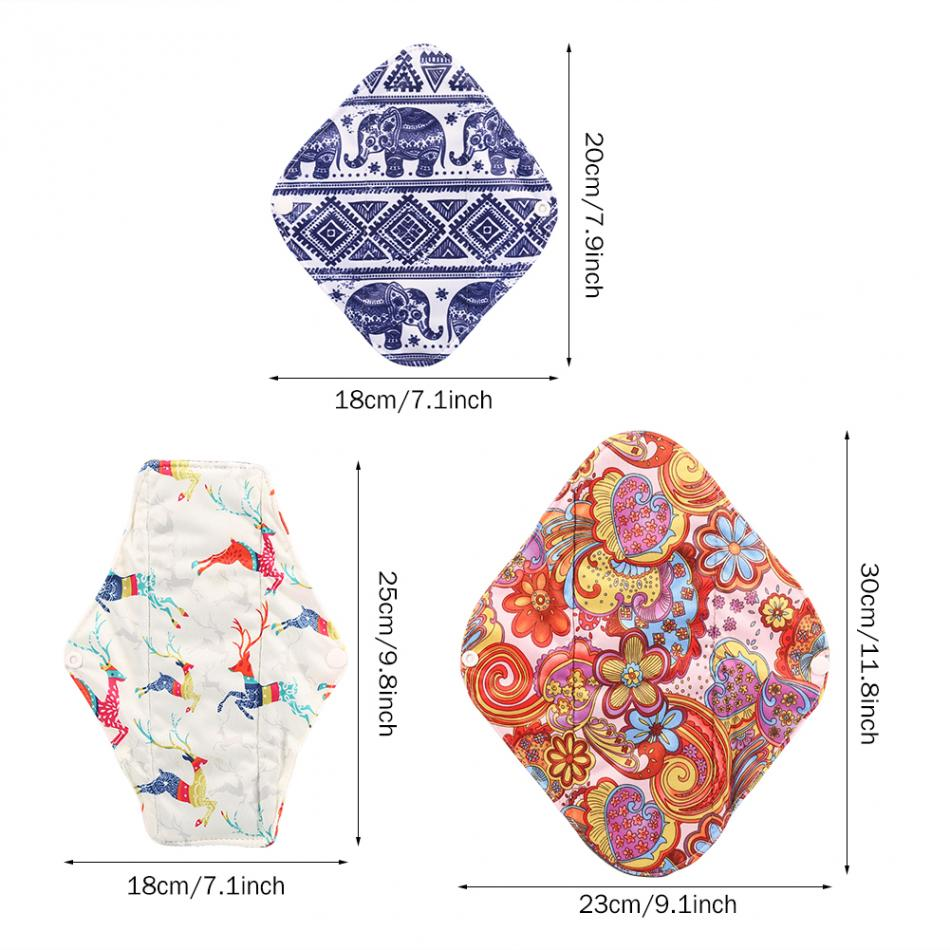 3PCs Reusable Sanitary Pads Charcoal Bamboo Cloth Menstrual Pads Washable Sanitary Towel Lady Nappy Panty Pads Vagina Care S+M+L
