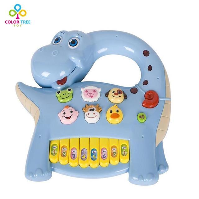 Bebê piano mulsical toys dinossauro com luz & música aprendizagem educacional toys presentes para as crianças