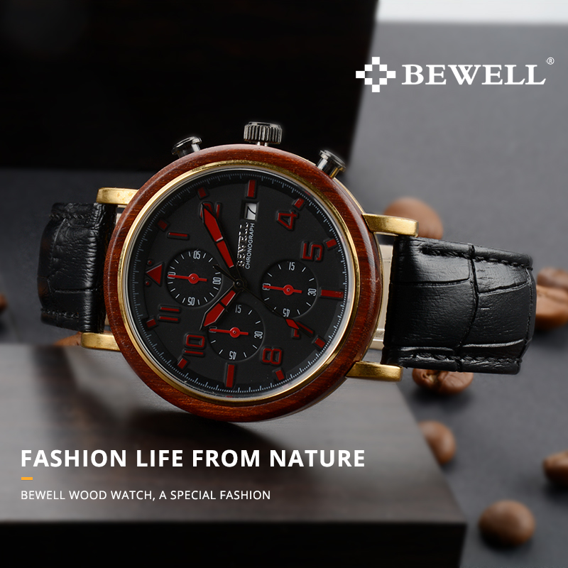 BEWELL New Waterproof Alloy Wood Men Watches With Luminous Hands And Stopwatch Top Luxury Brand Clock With Leather Band 1061A 2