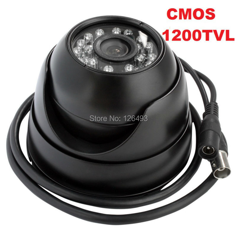Free shipping Black color metal waterproof security cmos1200TVL mini dome analog camera for home,shops, buses ...