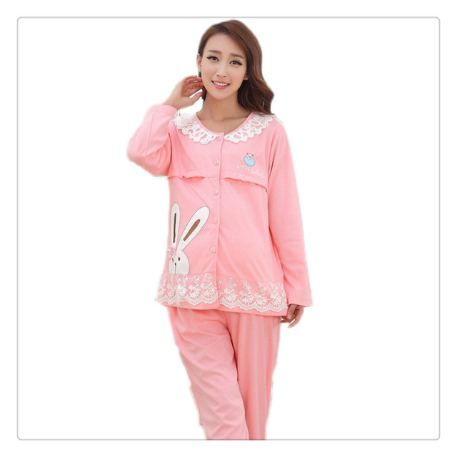 Bearsland Cotton Maternity Nursing Pajama New 2 pcs Japanese Weekend Maternity Nursing Pajama Tops+Pants Cute Sleepwear botton