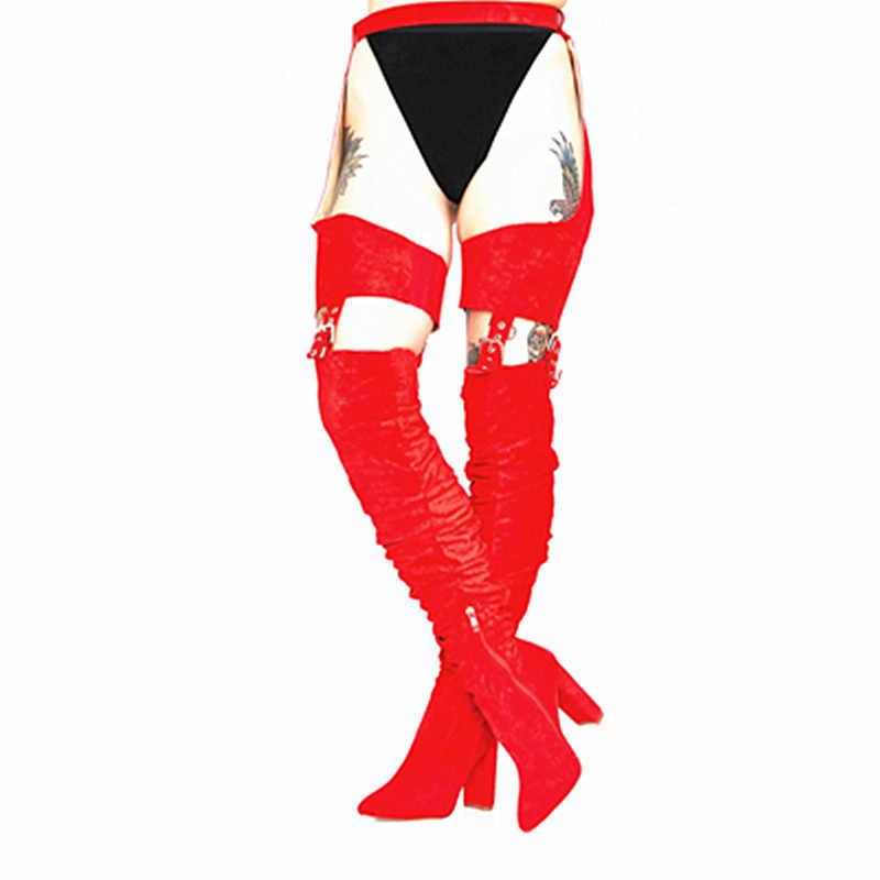 Красные высокие сапоги; женская обувь для ночного клуба на не сужающемся книзу высоком каблуке; декоративные ремни мужские джинсы с вышивкой; ботфорты; облегающие высокие сапоги
