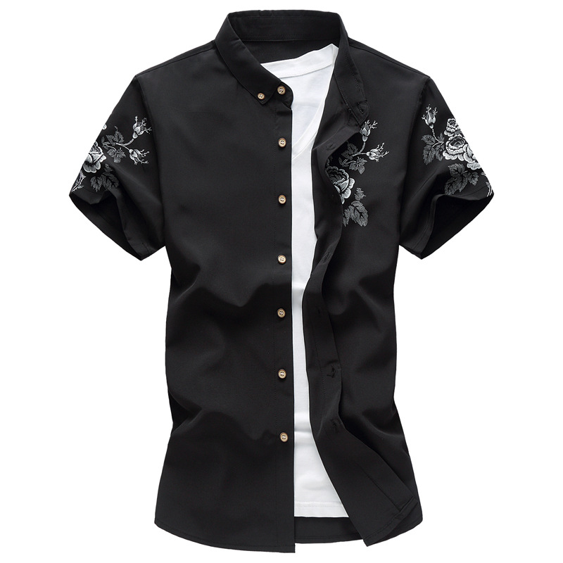 2019 Large Size 6XL Men's Shirt Summer Short Sleeve Floral Printed Slim Fit Plus Size Fashion Casual Manly Shirts Aleirmires