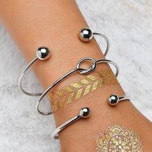 OLOEY Womens Bracelets 3pcs/lot Bracelet Women New Female Knot Open Hand Chain Fashion Jewelry Geometric Gifts Bohemian Punk
