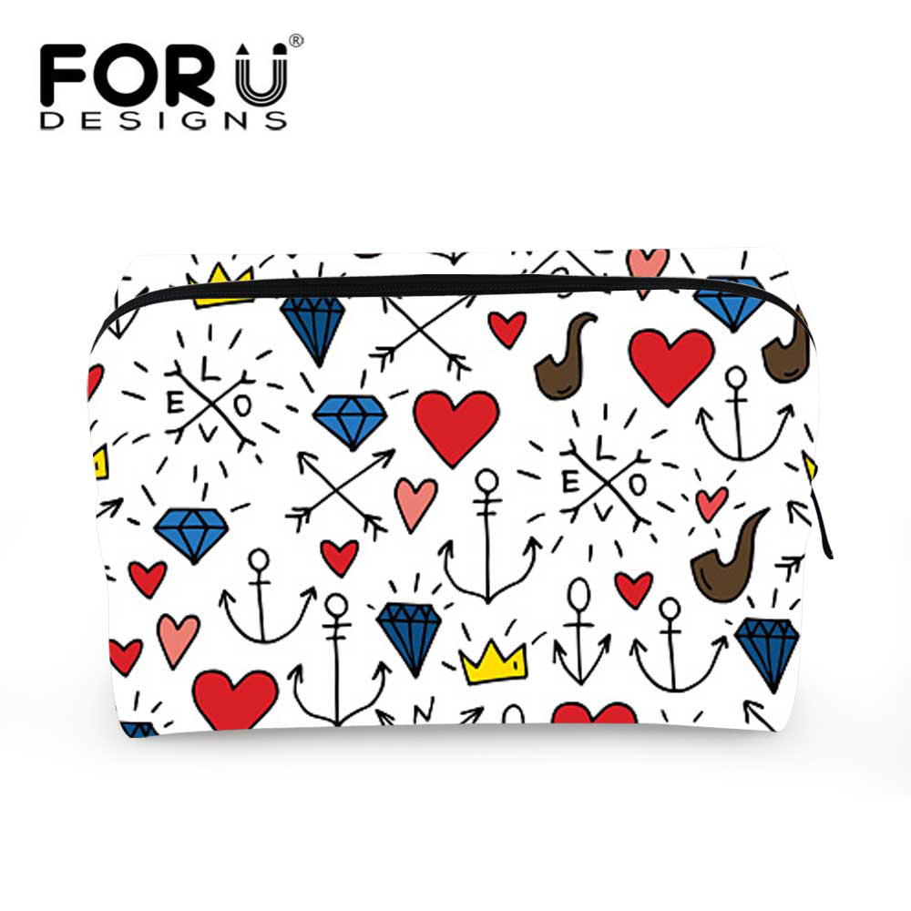FORUDESIGNS Anchor Make Up Bags Cosmetics Case Organize For Travel Toiletries Necessary Beauty Pouch For Girls Gift Cosmeticos