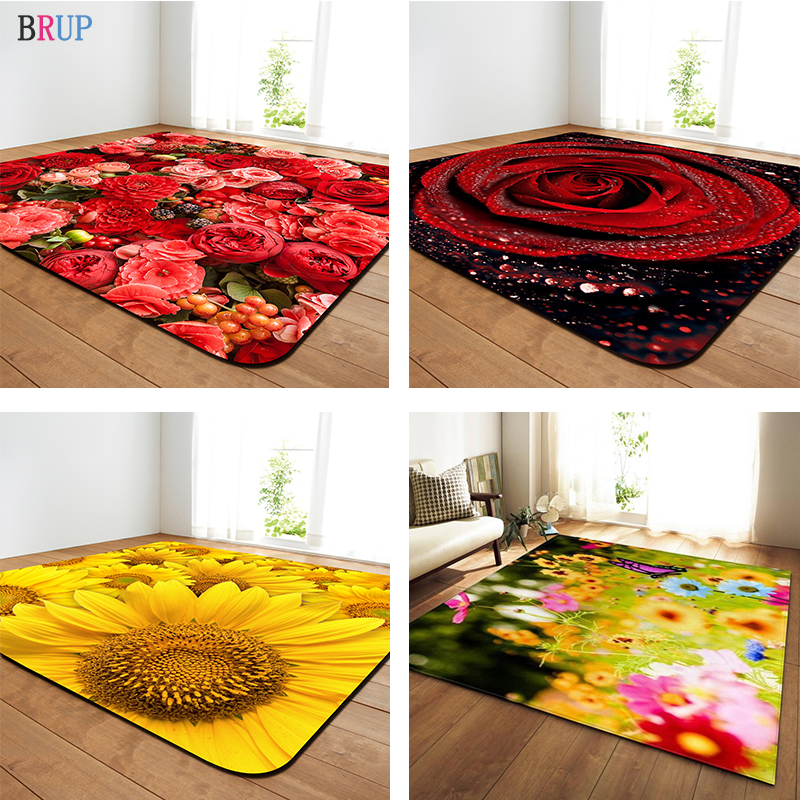 11 Kinds Flowers Large Carpets Romantic Rose Big Parlor Mat Soft Flannel Sunflower Rugs Home Decorative For Living Room Bedroom