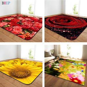 Image 1 - 11 rodzajów kwiaty duże dywany romantyczna róża duży Parlor mata miękka flanelowa dywaniki słonecznika domu dekoracyjne do salonu sypialni