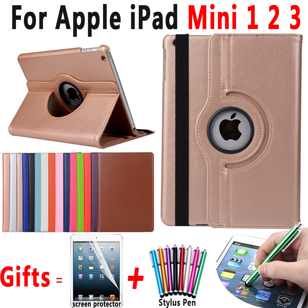 все цены на 360 Degree Rotating Litchi Pattern Leather Smart Shell Cover Case for Apple iPad mini 1 2 3 7.9 inch Coque Capa Funda +Pen+Film
