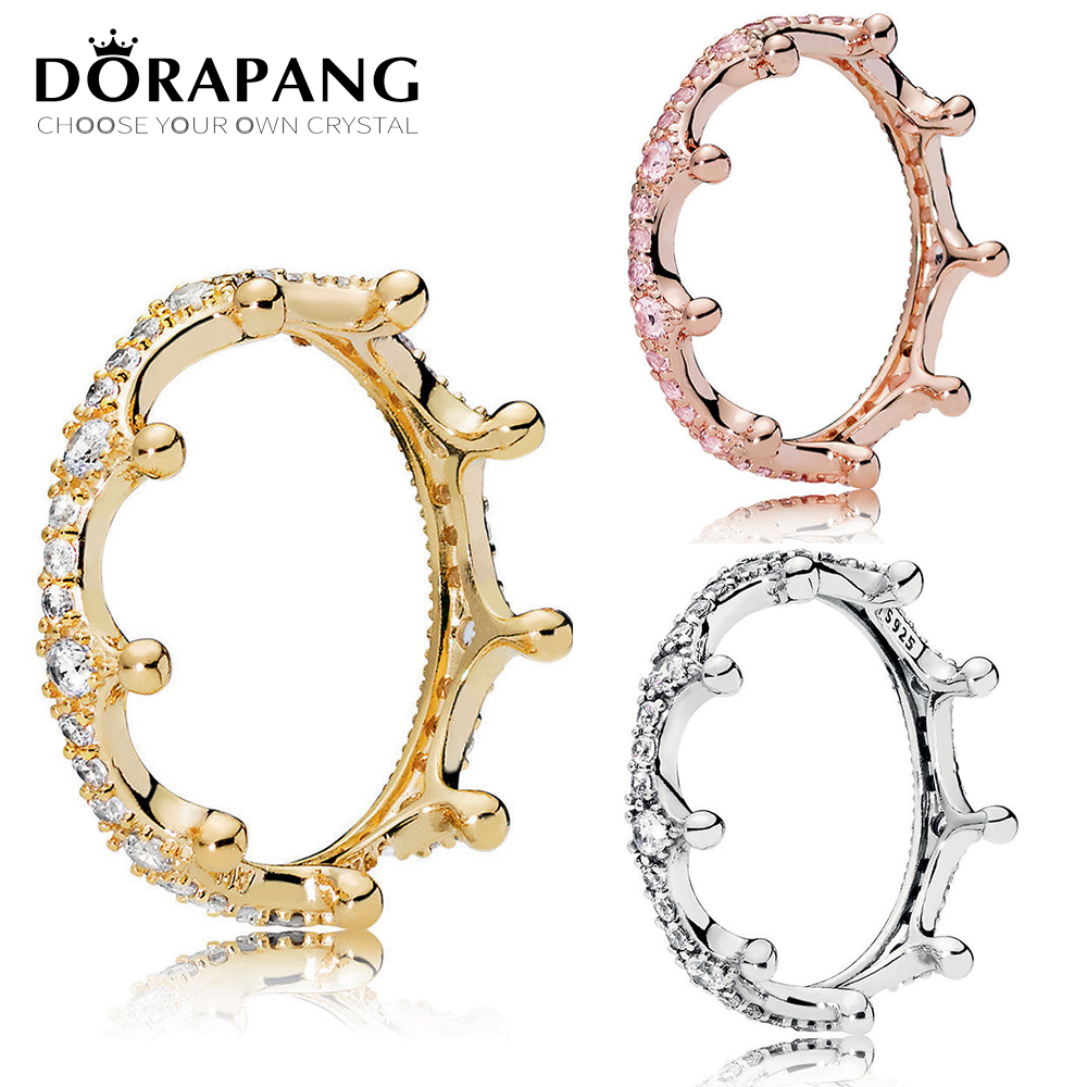 DORAPANG NEW 100% 925 Sterling Silver Rings Magic Rose Gold Crown Ring 14 Golden Magic Crown Personality Temperament Fit women