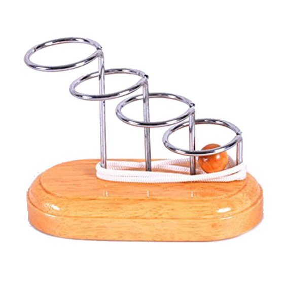 Classic Brain Teaser Metal Wooden Stand String Rope Puzzle Game Educational Toy For Kids And Adults