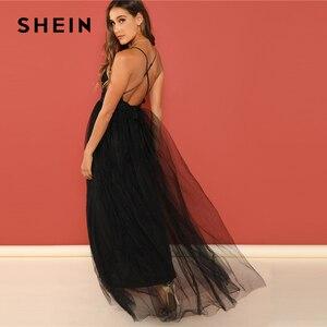 Image 2 - SHEIN Black Night Out Plunging Neck Deep V Neck Crisscross Back Cami Sleeveless Backless Dress Women 2018 Summer Sexy Dresses