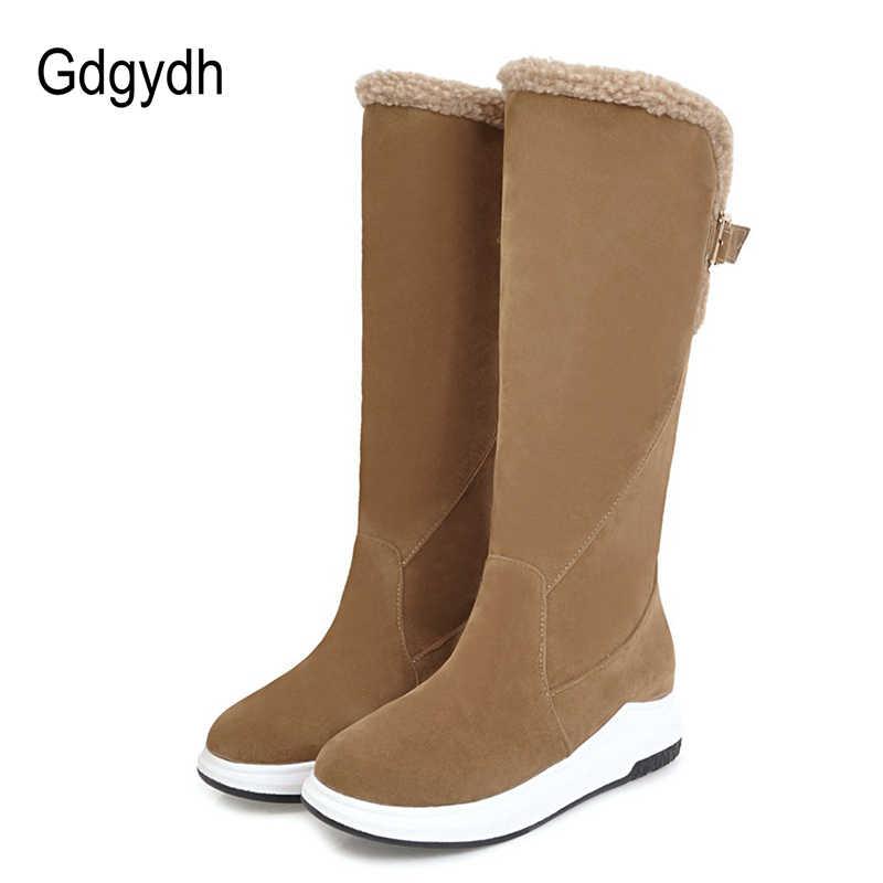 Gdgydh diz yüksek çizmeler kış sıcak ayakkabı kadınlar 2019 yeni varış Metal kemer toka kadın kar botları peluş içinde kaliteli
