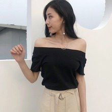 цены на Sexy Women Off Shoulder O Neck Top Back Bow Cotton Summer Short Sleeve Solid T Shirt Tops Female T-shirt Tops Female в интернет-магазинах