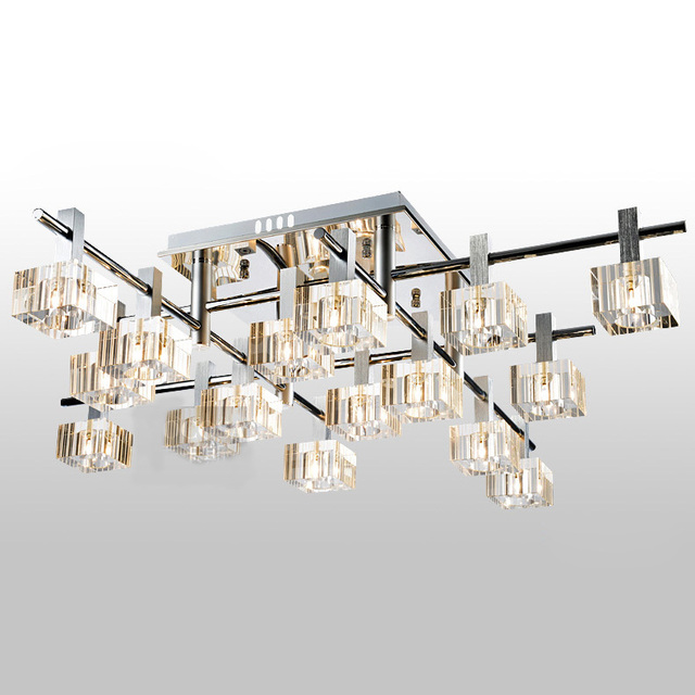 Modern Luxury Striated Square Crystal Living Room Ceiling Lights European Dining Restaurant Lighting Fixtures