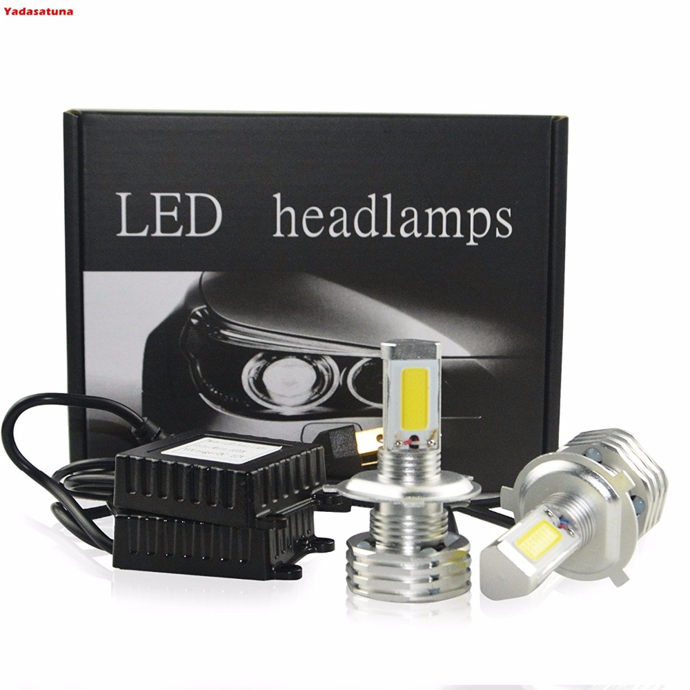 2*H4/HB2/9003 90W 9000Lm/Pair 6000K White COB LED Headlight Bulbs 3-Sided Head Light Dual Beam Hi/Lo Led Headlamp No Error Cars