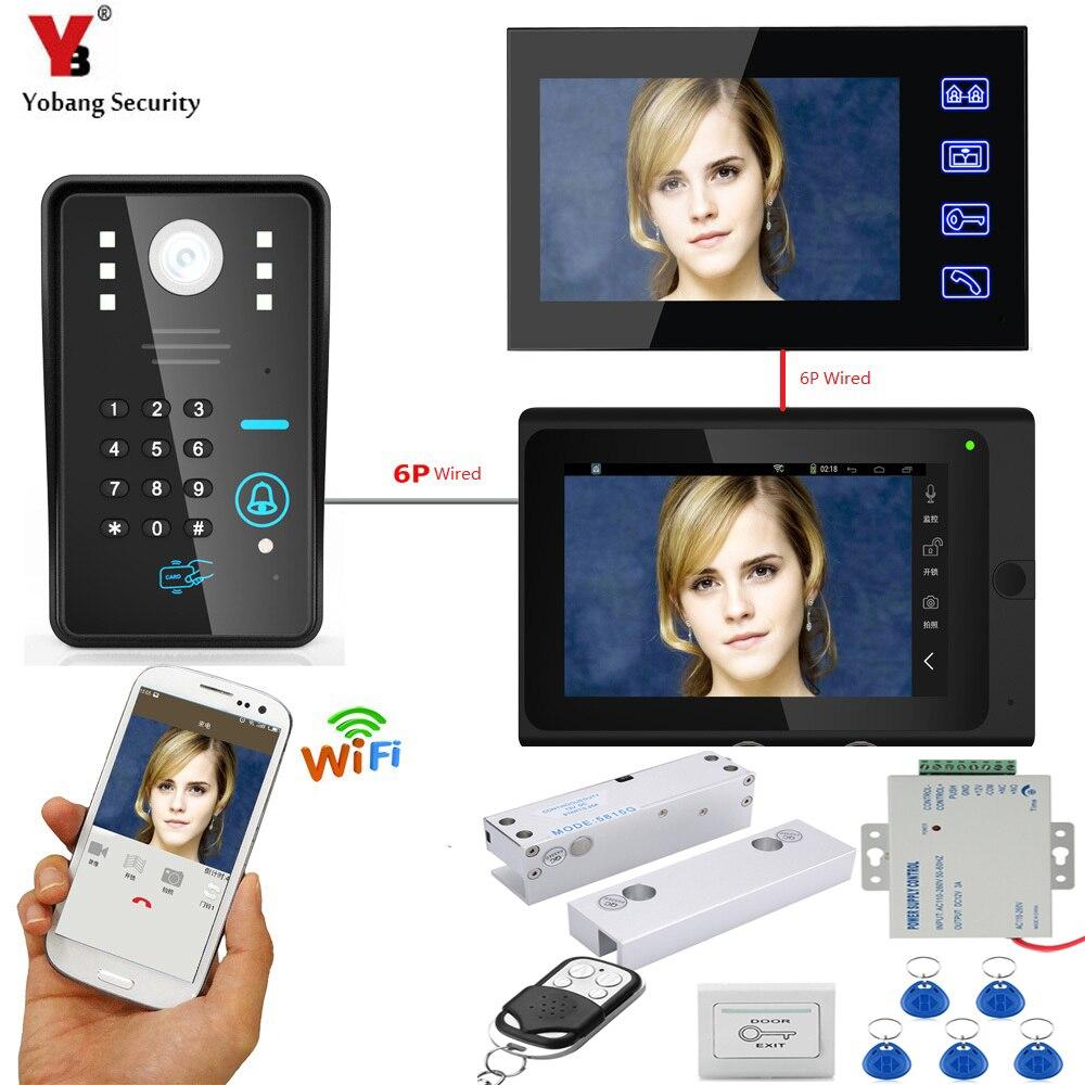 все цены на YobangSecurity 2X 7 Inch Monitor Wifi Wireless Video Door Phone Doorbell Video Intercom System Electronic Door Lock+Power Supply онлайн