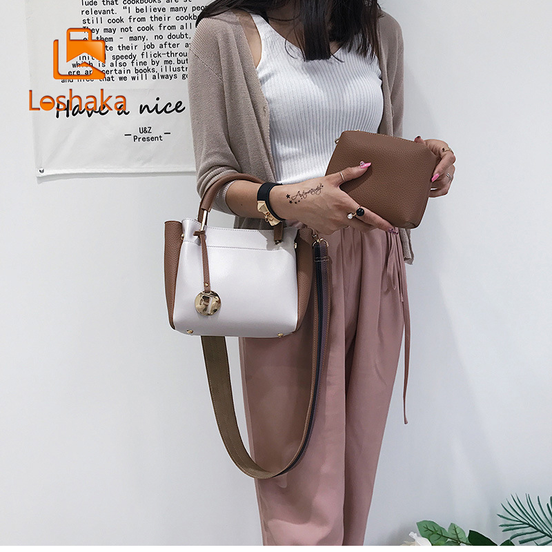 Loshaka Women Tote Bag With Panelled Strap Design Trapeze Fashion Composite Bags Lady Causal Mini Wallet Business Crossbody Bags