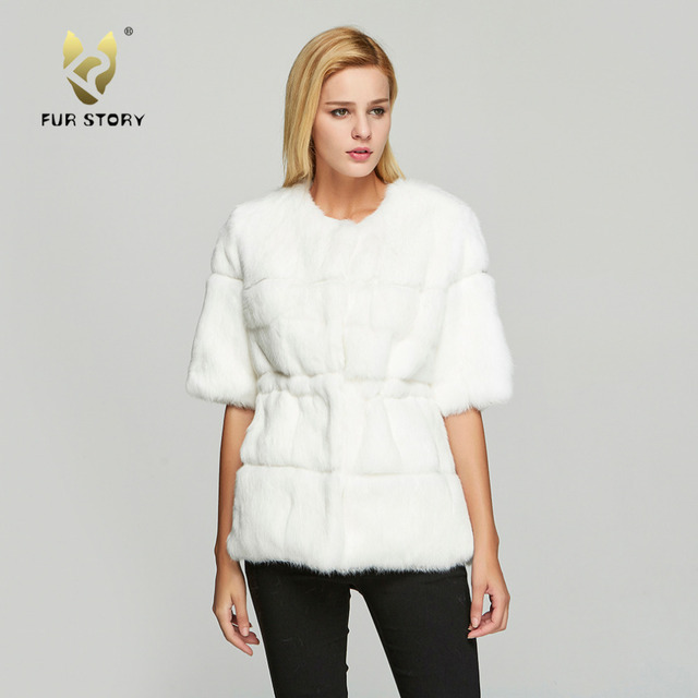 Fur Story 18110 Women s Real Rabbit Fur Coat Winter Fashion Warm Solid  Casual Jacket O-Neck Half Sleeve 039018d634