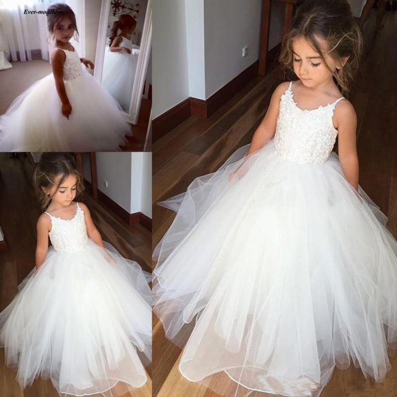 Spaghetti   Flower     Girls     Dresses   2019 O Neck Ball Gown Floor Length Sleeveless First Communion   Dresses   Birthday Party Gowns Cheap