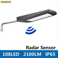 Neue 108 LEDs 2100LM Solarbetriebene Radar-bewegungsmelder Wandleuchte Im Freien Wasserdichte Energiesparlampe Straßen Hof Pfad Garten