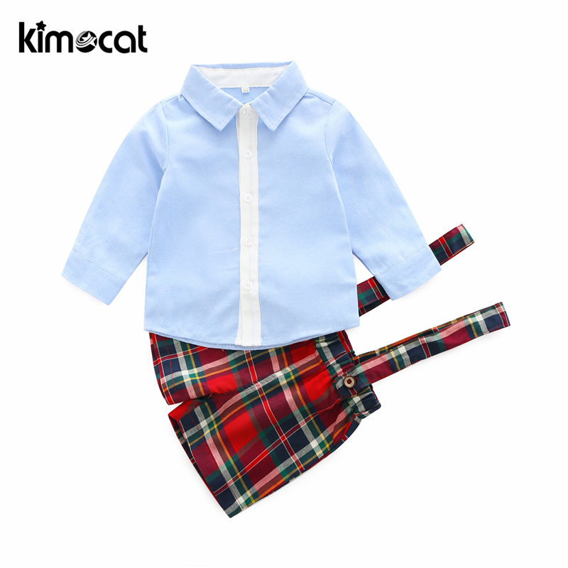 Kimocat Summer New Fashion Boys Clothing Set 2pcs Shirt+Pant Handsome Gentleman Sky Blue Baby Boy Clothes Newborn Clothes Infant