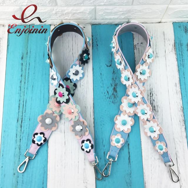 Fashion style design Makarong color rivets flowers stitching color ladies handbag belt shoulder strap bag accessories bag parts