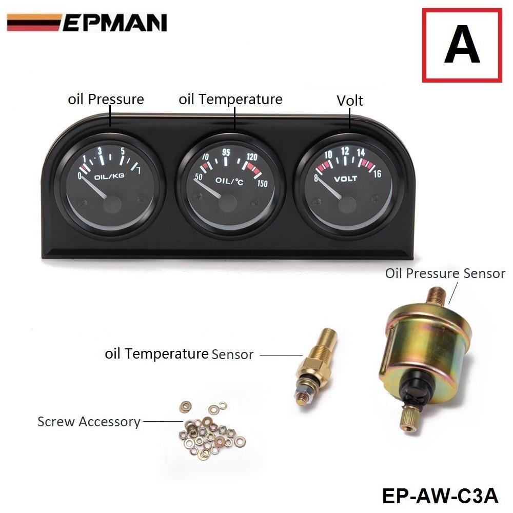 52 мм 3 в 1 Вольтметр+ Датчик температуры воды+ Датчик давления масла комплект вольтметр или датчик температуры масла тройной метэ EP-AW-C3 - Цвет: AW C3 A