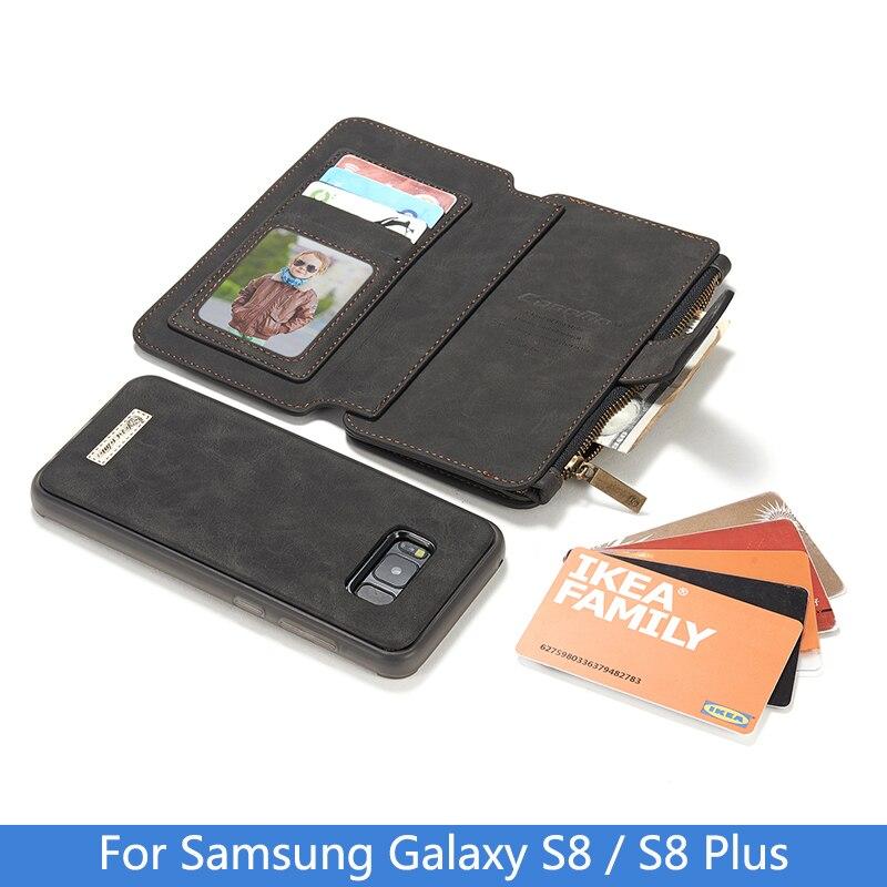 imágenes para De lujo del cuero Genuino Para Samsung Galaxy Caso Del Tirón de La Cremallera S8 magnética Teléfono Monedero Cubierta de la Caja Del Teléfono Para Samsung S8 Más Coque