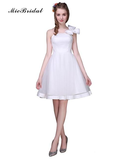 MicBridal Short White Evening Dress Robe de Soiree 2016 One Shoulder ...