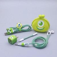 מתנה טובה סט מגן עם כבל אוזניות כבל USB קריקטורה חמוד מדבקות המותח כבל ספירלה מגן לאייפון 5 6 6 s 7 בתוספת