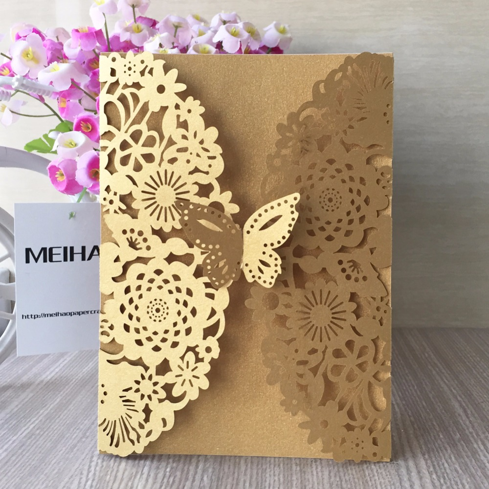 50pcs/lot Dark Gold Unique Flower&Butterfly wedding theme invitation ...