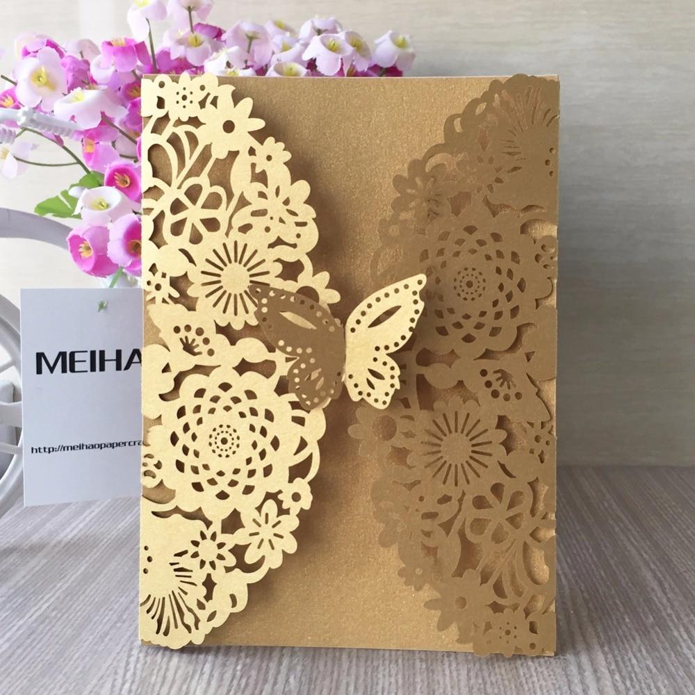 50pcs/lot Dark Gold Unique Flower&Butterfly wedding theme ...