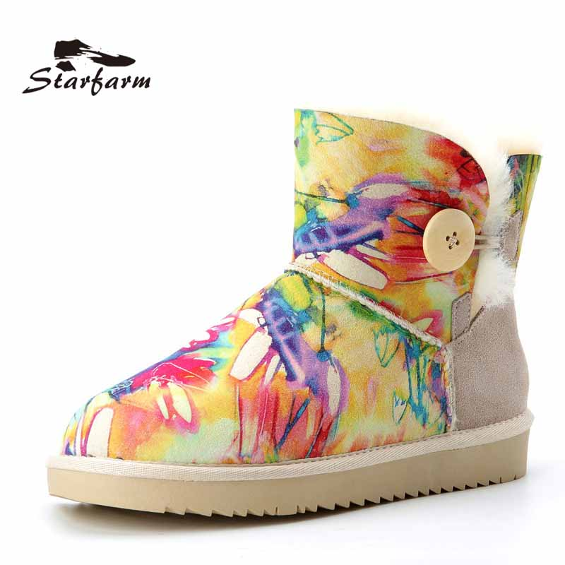STARFARM Boots Women Winter Snow Boots Fur Shearling Boots Autralian Shoes Striped Colorful Boots Woman TPR Sole SF1713