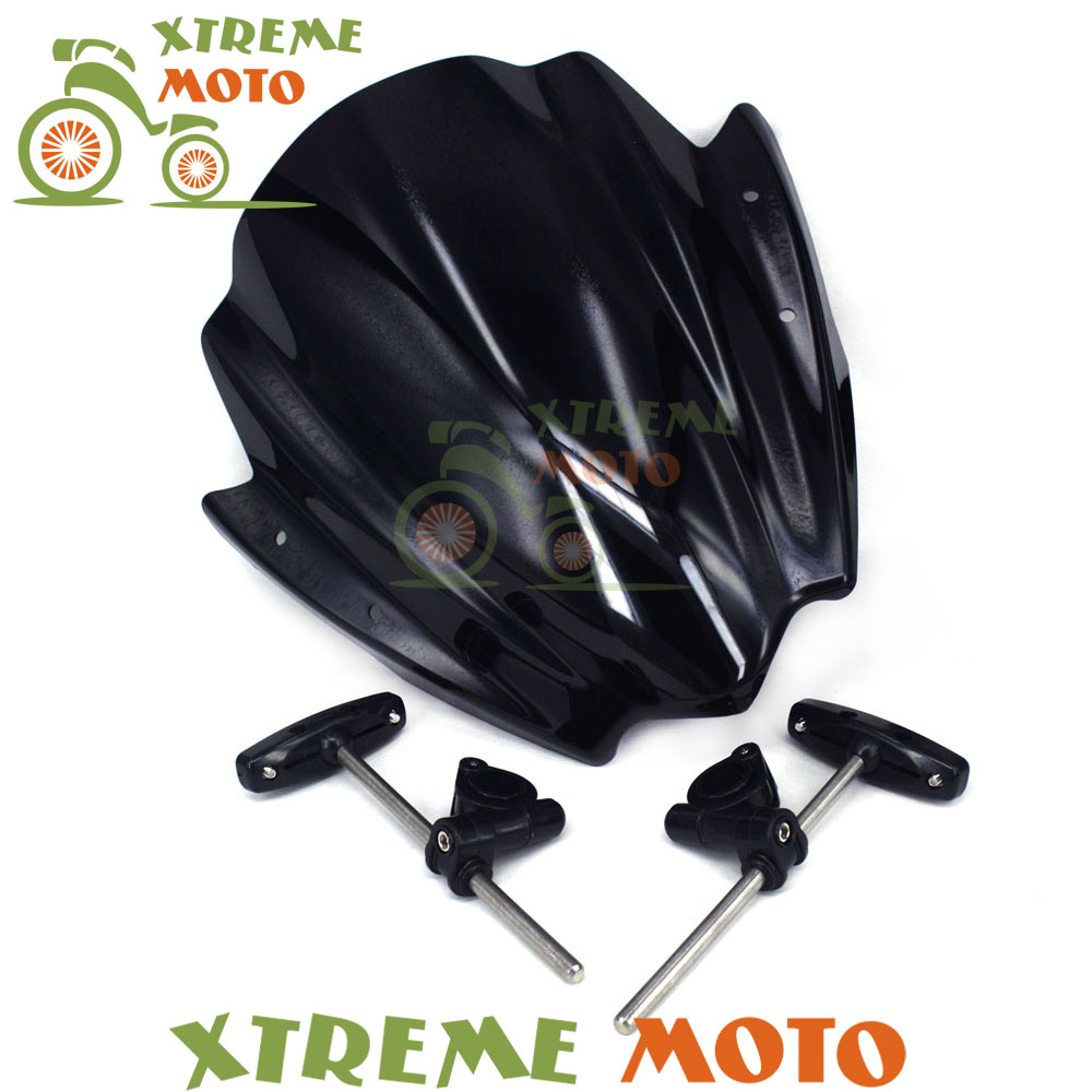 7/8  & 1Universal Motorcycle Windscreen Windshield For Harley Kawasaki Suzuki Honda Yamaha KTM Ducati Motorcycle Street Bike 2017 universal 7in1 for yamaha sym kymco for suzuki htf pgo for honda motorcycle diagnostic tool update via email