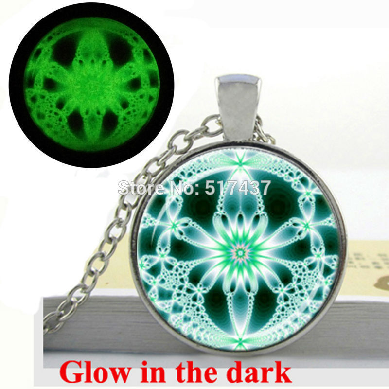 Glow in the Dark Green Necklace White Fractal Jewelry Lace Necklace Abstract Design Sacred Geometry Glowing jewelry