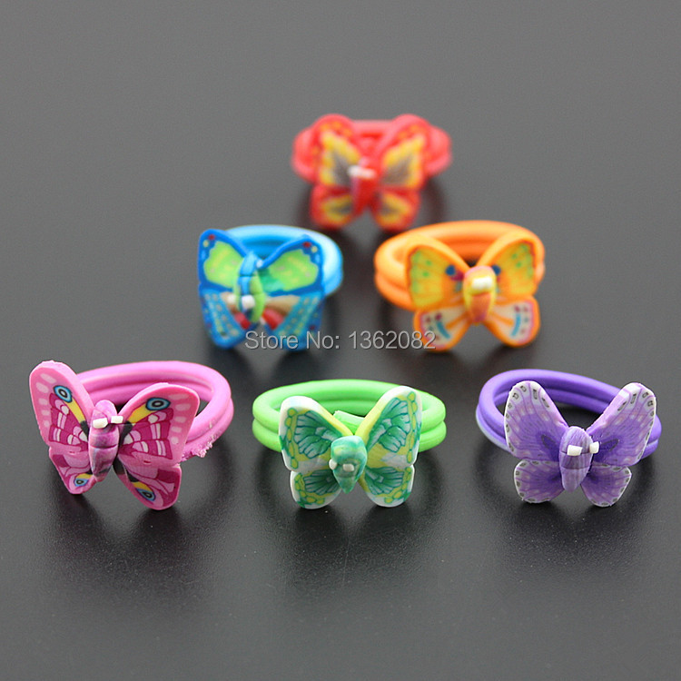 50//20Pcs Butterfly Rings Cocktail Polymer Clay Wholesale Children Kids Ring Lot